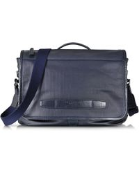 The Bridge - By Pininfarina Navy Blue Leather Messenger Briefcase - Lyst