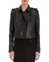 J. Mendel - Leather Cropped Trench Jacket - Lyst