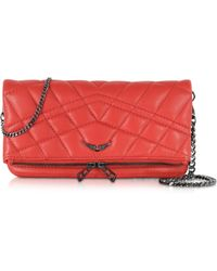 Zadig & Voltaire - Rock Mat Matelasse Leather Clutch W/Chain Strap - Lyst