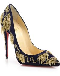 Christian Louboutin | Dollyparty Chain-Embellished Suede Pumps | Lyst