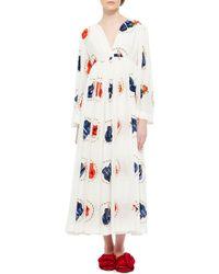Natasha Zinko - Printed Silk Caftan Dress - Lyst