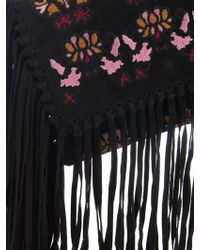 Isabel Marant - Shiloh Fringed Embroidered Suede Clutch - Lyst