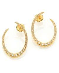 Ila & I Franklin Diamond & 14K Yellow Gold Crescent Earrings gold - Lyst