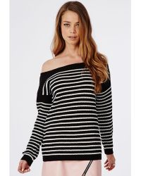 Missguided Off Shoulder Striped Knitted Sweater Black - Lyst