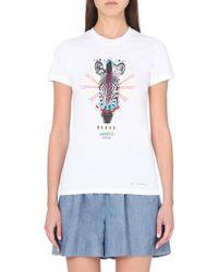 Markus Lupfer Zebra-Print Cotton-Jersey T-Shirt - For Women white - Lyst