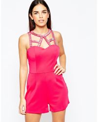 Girl In Mind | Playsuit With Embellished Cage Detail - Pink | Lyst
