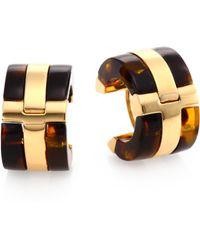 Tory Burch Wyatt Tortoiseprint Huggie Hoop Earrings1 - Lyst