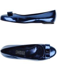 Ferragamo Blue Ballet Flats - Lyst