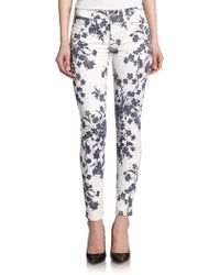 7 For All Mankind Floral Print Ankle Skinny Jeans - Lyst