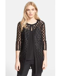 Milly Embroidered Mesh Overcoat - Lyst