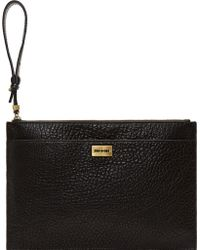 McQ by Alexander McQueen Black Grained Leather Razor Wristlet Clutch - Lyst