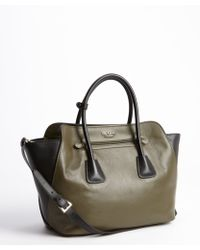 Prada Army Green and Black Leather Top Handle Bag - Lyst