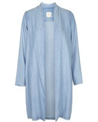 Topshop Denim Long Jacket By Selected Femme - Lyst