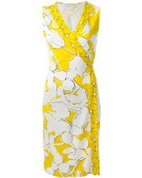 Diane von Furstenberg Flower-Print Silk Wrap Dress - Lyst