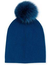 Neiman Marcus - Cashmere Slouchy Hat W/fur Pom Pom - Lyst