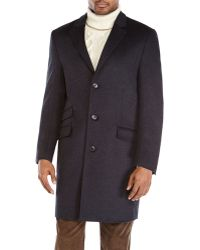 Hart Schaffner Marx Charcoal Single-breasted Overcoat - Lyst