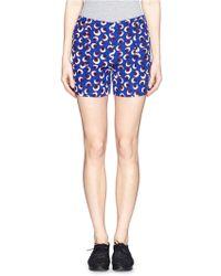 Stella McCartney Blossom Print Silk Crepe Shorts - Lyst
