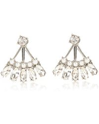 River Island White Fan Crystal Front And Back Earrings - Lyst