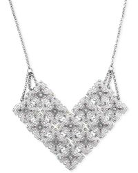 Jessica Simpson - Silvertone Crystal Accent Filigree Frontal Necklace - Lyst