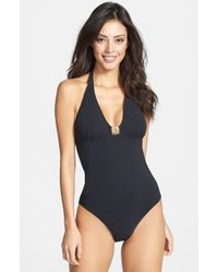 Tory Burch Logo Halterneck One-Piece Swimsuit - Lyst