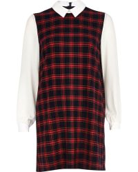 River Island Red Check Contrast Sleeve Shift Dress - Lyst