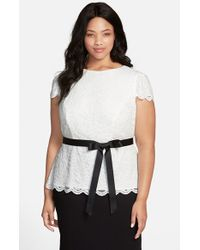 Alex Evenings Cap Sleeve Lace Blouse With Ribbon Belt - Lyst