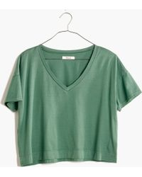 Madewell Luster Cotton V-Neck Crop Tee - Lyst