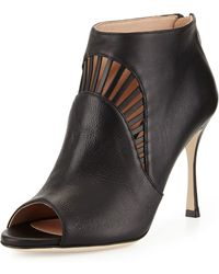 Sergio Rossi Vivienne Leather Cutout Bootie - Lyst