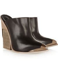 Versace Metal-Tipped Leather Mules - Lyst