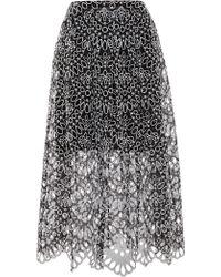 Oscar de la Renta Silk Eyelet Midi Skirt - Lyst
