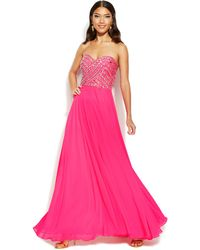 Xscape Embellished Lace-Up Strapless Gown - Lyst