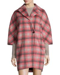 Thakoon Addition - Plaid Button-front Asymmetric Coat - Lyst