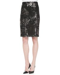 Lela Rose Foiled Lace Straight Skirt - Lyst