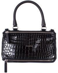 "Givenchy Black Crocodile Print Medium ""Pandora"" Bag - Lyst"
