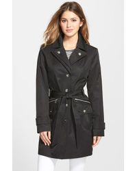 London Fog Double Collar Trench Coat With Detachable Hood - Lyst