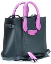 Balenciaga Padlock Nude Mini All Afternoon Leather And Snakeskin Tote - Lyst