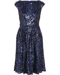 Badgley Mischka Sequined Tulle Dress - Lyst