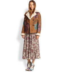 Burberry Prorsum Handpainted Suede Shearling Coat - Lyst