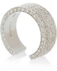 Maison Dauphin - White Gold And Diamond Four Row Open Ring - Lyst