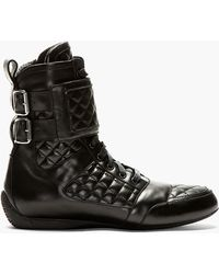Balmain Black Quilted Leather High Top Sneakers - Lyst