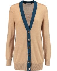 Tory Burch - Simone Two-tone Merino Wool Cardigan - Lyst