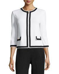 St. John Contrast-Trim Zip-Front Jacket - Lyst