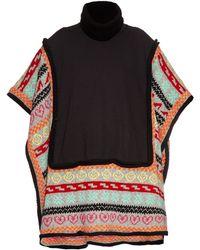 Michaela Buerger - Wool-knit Trimmed Jersey Poncho - Lyst