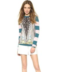 Just Cavalli Striped Sweater Petrolold Pink - Lyst