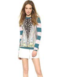 Just Cavalli Striped Sweater Petrolold Pink - Lyst