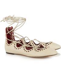 Isabel Marant Leo Snake-Effect Leather Sandals - Lyst