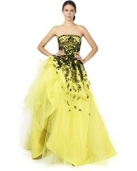 Oscar de la Renta Strapless Embroidered Ball Gown - Lyst