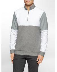 Calvin Klein   White Label Classic Fit Colorblock Jacquard 1/4 Zip Terry Sweatshirt   Lyst
