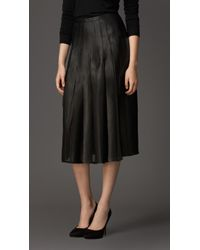 Burberry Pleated Leather Skirt - Lyst