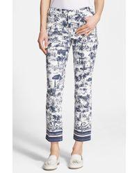 Tory Burch Print Straight Leg Crop Jeans - Lyst